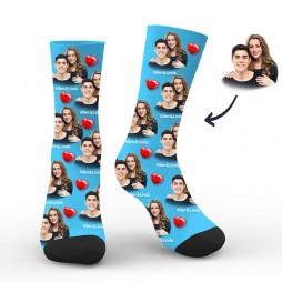 Custom Men Blue Socks